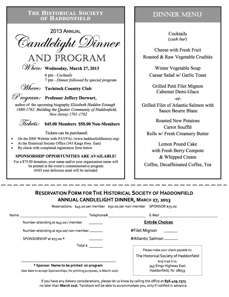 2013_Candlelight Dinner_Reservation-menu_2013