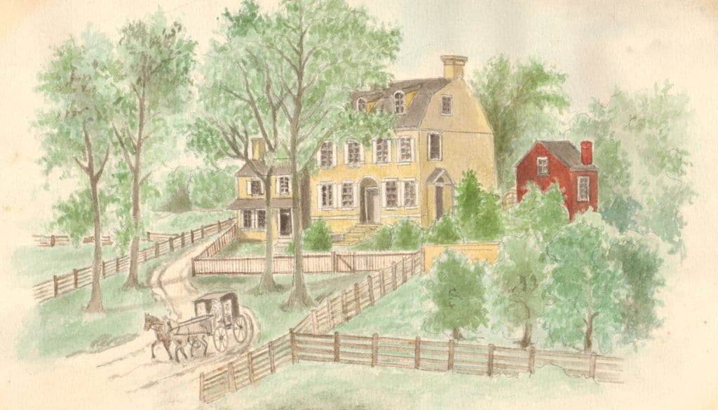 Drawing of New Haddonfield Plantation house